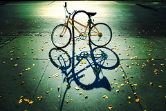 Autumn Cycle (moriza) Tags: street city nyc morning autumn shadow newyork bike bicycle yellow interestingness 100v10f mo cc sidewalk creativecommons parked leafs mohammad moriza riza yellowbike fivestarsgallery artlibre impressedbeauty superbmasterpiece modomatic thegoldenmermaid 1on1shadowsilhouettesphotooftheweek 1on1shadowsilhouettesphotooftheweekmarch2008 imagicland