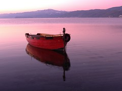 dreamboat (kosova cajun) Tags: red reflection sunrise dawn boat macedonia balkans makedonija struga lakeohrid southeasterneurope maqedonia strug liqeniiohrit ysplix