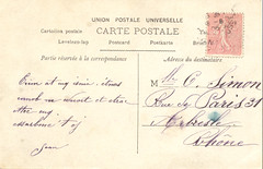 french calligraphy on old postcard