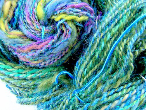 Handspun Yarns made with Lori Lawson's handpainted roving