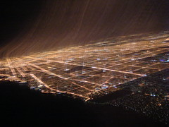 Chicago (kowitz) Tags: light blur night airplane grid flight wing streaks citygrid streaksoflight