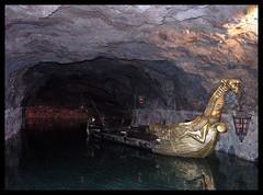Seegrotte (Romeodesign) Tags: lake reflection underground gold austria boat mine fantasy cave viking hinterbrühl seegrotte
