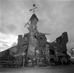 The Haunted Castle ride (King Power Cinema) Tags: darkride panamacitybeach ride hauntedhouse hauntedcastle tracks ghost train ghosttrain haunted funhouse spookhouse beach florida vacation tree face attraction fair carnival archive bw darkrides