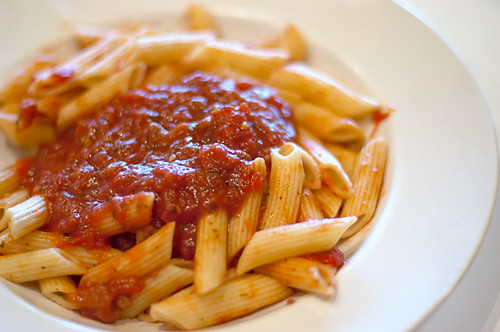 Penne Pasta with Meat Sauce by disneymike.