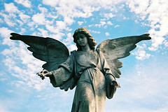 Austin Cemetery Angel (Eric Hunt.) Tags: sky sculpture film cemetery statue angel clouds austin statuary oakwoodcemetery cemeteryart