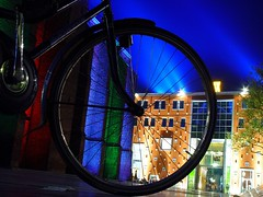 night rider (josef.stuefer) Tags: street blue light shadow holland colors bike wheel night wow nijmegen geotagged interestingness poetry geometry explore topf150 lux benelux marinburg josefstuefer catchycolorsbluered geo:lat=51845073 geo:lon=5865996