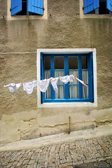 dieulefit window dressing (phitar) Tags: street blue 2002 france window topf25 panty dry drome dieulefit phitar
