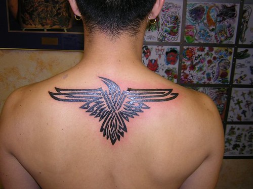 Tribal Raven Tattoo! yeah he's getting ink done.