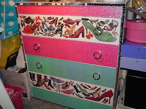 Collaged chest of drawers
