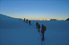 sunrise on Glacier du Tour (Ron Layters) Tags: france mountains alps nature geotagged earlymorning slide transparency chamonix rescanned argentiere ronlayters slidefilmthenscanned glacierdutour geo:lat=459885 geo:lon=700172 massifdumontblanc