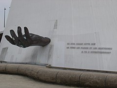 Reaching Out. (francophony) Tags: levolcan lehavre hand sculpture quotation france oscarniemeyer normandy havre