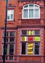 Cadogan Gardens cross, SW3 (djwhelan) Tags: london cadogangardens window cross stainedglass