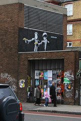 Pulp Shoreditch (MykReeve) Tags: road street people london art car poster graffiti paint pavement banksy banana shoreditch pulpfiction posters oldstreet buslane