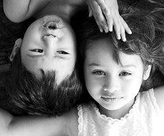 Beauty and the beastie (fd) Tags: family portrait bw topf25 sister brother daughter son siblings 50mmf18d fsftsblog