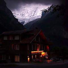 Mountain Inn (gms) Tags: mountain 2004 topv111 night wow dark lights switzerland inn europe fv5 chalet grindelwald spectacularswiss