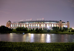 The Ballpark (sidehike) Tags: park longexposure trees lake field grass night arlington lights dallas texas baseball wind landscaping greene rangers ballpark ameriquest fav10 explore66