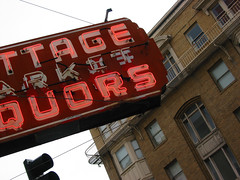 Cottage Market Liquors (splorp) Tags: sf sanfrancisco california usa building brick window sign typography neon exterior market balcony cottage signage type liquors