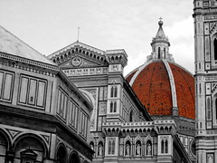 Red Dome (Zulpha) Tags: old red italy white black church tag3 taggedout architecture digital photoshop wow florence tag2 tag1 cross cathedral fv5 campanile dome duomo lovely giotto 1on1 nikone4300 interestingness33 i500 explore29jan06 contestdomes