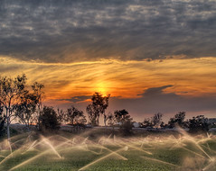 (Amery Carlson) Tags: california ca sunset sky cloud color tree field sprinkler apex hdr highdynamicrange ventura photomatix