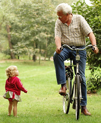 caught in the moment (joyrex) Tags: 1025fav forest toddler grandfather twin explore contact bicicle abigfave