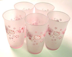 Hello Kitty Sakura Glasses (pkoceres) Tags: pink kitchen glass japan juice hellokitty sanrio  cherryblossom sakura tableware dishware    boughtonebay hellokittysakura