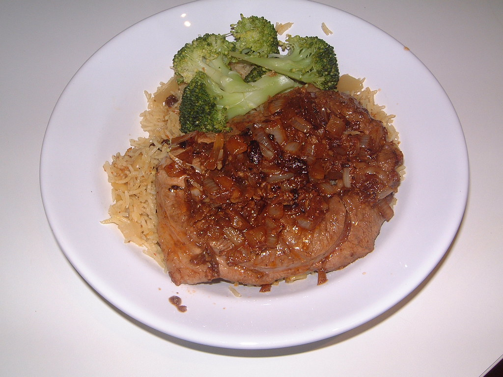 Lamb with Muslim Mediterranean Marinade, Rice with Pine Nuts and Raisins, and Broccoli