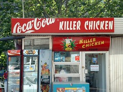 Bucharest (ribizlifozelek) Tags: red chicken sign absurd ad romania bucharest flu bukarest