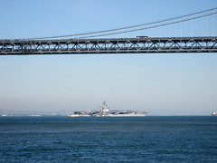 Nimitz through the Bay Bridge (Telstar Logistics) Tags: sanfrancisco baybridge i80 fleetweek ussnimitz cvn68 fleetweek2006