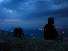 The Lonely Thinking Hiker (Joanns) Tags: blue mountain lake grass night clouds alpes landscape rocks mood loneliness hiking hill climbing climber chambry savoie impressive gravel florent lacdubourget bauges traking dentduchat