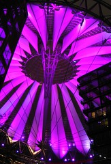 Sony Center - Potsdamer Platz (Shamus O'Reilly) Tags: pink roof urban color colour building berlin architecture night germany spectacular purple sony magenta structure potsdamerplatz sonycenter