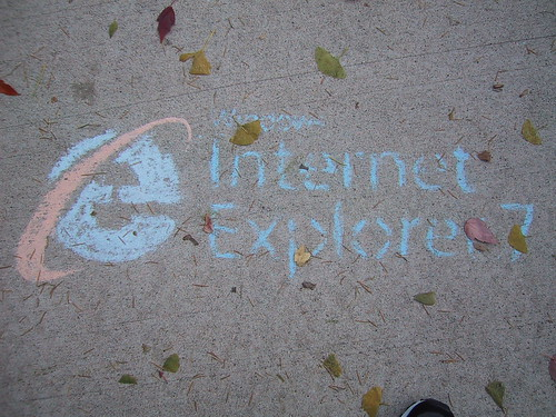 IE7. This appeared on the sidewalk outside the SW door of Recitation at Purdue University