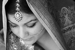 dil ki rani (Ms Minnow) Tags: portrait blackandwhite bw girl beautiful gold bravo lashes indian shy jewellery nosering sari modest rani sundari artlibre
