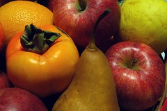 Autumn fruits (DarkFrame) Tags: red orange apple yellow fruit nikond70s giallo pear rosso frutta arancio mela caco pera 2for2 gnamgnam