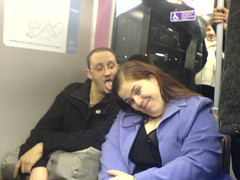 We might have been a little drunk (OwenBlacker) Tags: cameraphone party london me tongue drunk train self moblog phonecam geotagged girlfriend jen indigo pissed nokian70 llundain onerailway owenblacker mojen jennyblower geolat51552793 geolon0047722