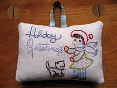 Holiday Greetings (floresita) Tags: embroidery ornament finished vintagepattern