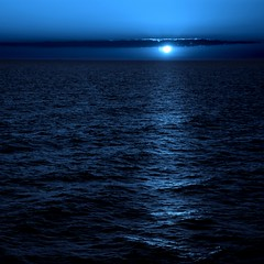 Another Sunset - blue sun sky water square sunset sea dark night seascape 2006 bridge