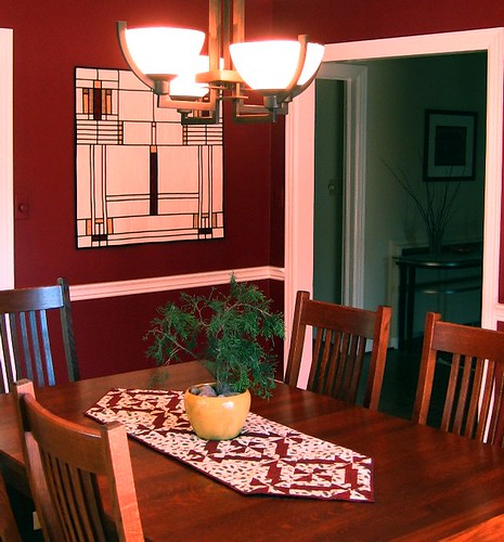 Dining room with new table runner