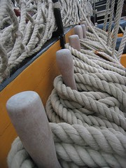 Rope on Deck, HMS Victory (Stuart Herbert) Tags: blue black yellow museum canon navy royal trafalgar nelson 2006 rope historic ixus portsmouth pegs warship dockyard hmsvictory
