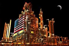[フリー画像] 建築・建造物, 工場・産業機械, 夜景, 月, アメリカ合衆国, HDR, 201006132300
