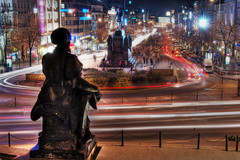 Wenceslas Square (Stevacek) Tags: longexposure cars d50 lights evening nikon colours traffic czech prague praha wenceslassquare czechrepublic rushhour lighttrails hdr vecer doprava auta vaclavak svetla vaclavskenamesti tthdr barvy abigfave trafficattack dopravnispicka