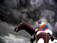 bouncy horse with attitude (Dan65) Tags: sky horse storm color colour clouds racetrack fun austria spooky plastic inflatable jockey racecourse bouncy blowup magna racino ebreichsdorf magnaracino