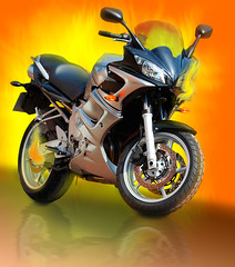 Blazing (Serrator) Tags: photoshop fire bravo motorcycle kkfav