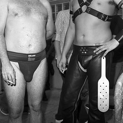 . (whileseated) Tags: sanfrancisco street gay blackandwhite bw men public leather rollei rolleiflex folsom paddle smoking lgbt pouch bandw folsomstreetfair folsomstfair bulge forws safetguard