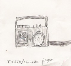 radio:cassette drawing from my primary school days