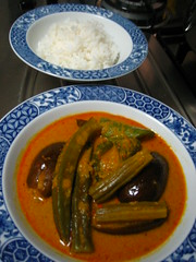 Vegetable Curry And Rice (Food Trails) Tags: vegetables interesting rice homemade recipes foodtrails homecooked homestyle homecooking curryleaves ladysfingers seasonings comments eggplants serai currypaste brinjals snakegourd driedseafood freshchilliesgroundingredients drumnsticks