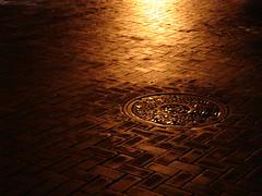 Street in the Morning (Haikiba) Tags: street morning light brick rain pittsburgh pennsylvania manhole manholecover marketsquare msh1106 msh110610