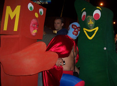 Gumby VS Nacho Libre! (Twitchietai) Tags: california carnival party halloween fun losangeles costume tv mask trickortreat carnivale pokey laughter wrestler mascara dragqueen westhollywood traje blockparty gumby nacholibre tartyshots