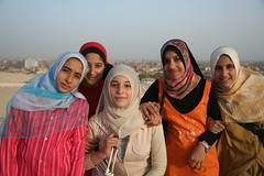Giza Girls (hazy jenius) Tags: girls portrait people muslim islam headscarf group egypt middleeast hijab cairo pyramids giza welltaken