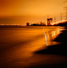 Burlington Beach at Night (gallow_chris) Tags: city travel bridge lake beach nature water night burlington lights nikon scenery long waves natural earth hamilton scenic greatlakes environment lakeontario terra skyway warth ferma chrisgallow allrightsarereserved
