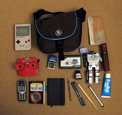 myBag (nickd3000) Tags: sky moleskine night pen ink bag phone transformer knife cellphone mario stamp crumpler zelda whatsinyourbag pens date gameboy nib whatsinmybag viewmaster snuff cleaver savlon
